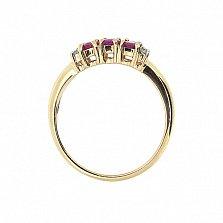 Кольцо из красного золота с рубинами и бриллиантами Хелена