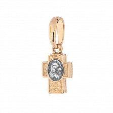 Серебряный крестик с позолотой и чернением Таинство Крещения
