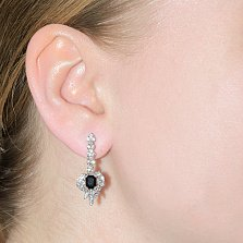 Серьги-подвески с бриллиантами и сапфирами Корделия