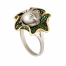 Кольцо из желтого и белого золота Царевна-лягушка с жемчужиной и фианитами