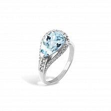 Серебряное родированное кольцо Полианна с бледно-голубым и белыми фианитами