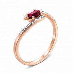 Кольцо из красного золота с рубином, бриллиантами  и родированием 000134299