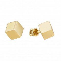 Золотые серьги-пуссеты Кубики в желтом цвете металла