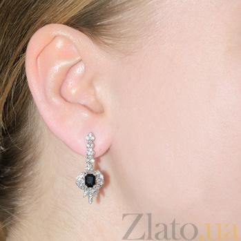 Серьги-подвески с бриллиантами и сапфирами Корделия E542с