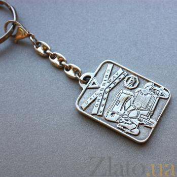 Серебряный черненый брелок Святой Христофор оберег для водителя с карабином и кольцом HUF--7177-Ч