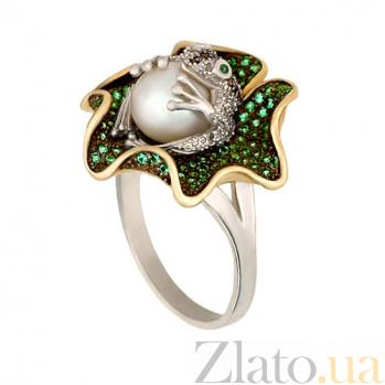 Кольцо из желтого и белого золота Царевна-лягушка с жемчужиной и фианитами VLT--ТТ1020