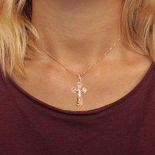 Золотой крестик Божья помощь в комбинированном цвете на классической фигурной основе с насечками