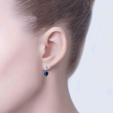 Серебряные серьги с синими цирконами Зарема