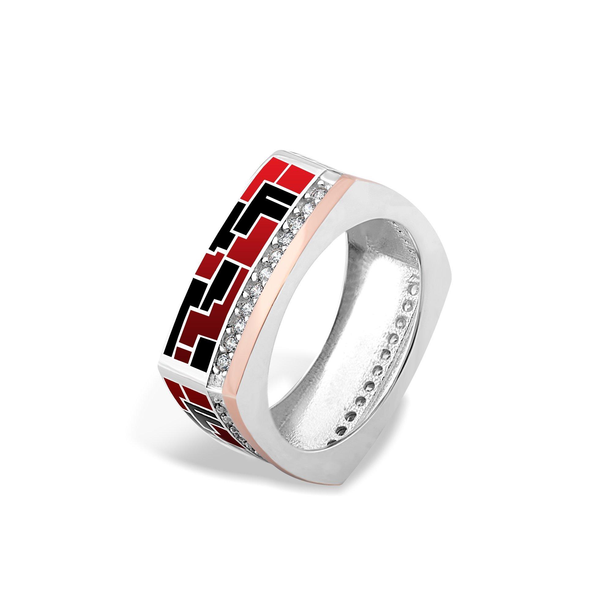 Серебряное кольцо Эльнара с золотой накладкой, фианитами, красной и черной эмалью