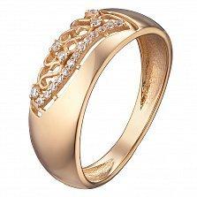 Обручальное кольцо в красном золоте Лада с фианитами