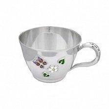 Серебряная чашка Летний день с эмалью, 200мл
