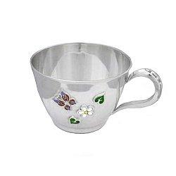 Серебряная чашка Летний день с эмалью, 200мл 000043508