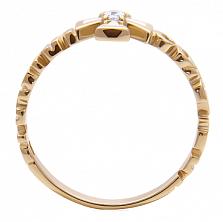 Золотое кольцо с бриллиантом и эмалью Спаси и Сохрани