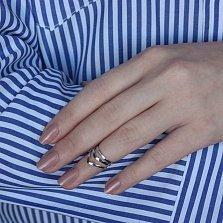 Серебряное фаланговое тройное кольцо Акула с выгнутым краем шинки