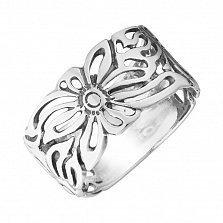 Серебряное кольцо Хризантемы с чернением