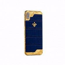 Apple IPhone XS MAX Noblesse Luminary  в темно-синей коже и золотыми узорными вставками