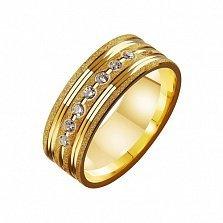 Золотое обручальное кольцо с фианитами Аделаида