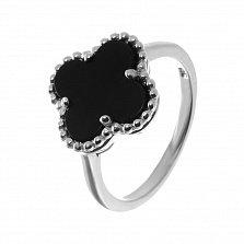 Серебряное кольцо Клевер с черным ониксом в стиле Ван Клиф