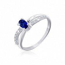 Серебряное кольцо Карон с цирконием сапфирового и белого цвета