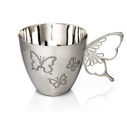 Серебряная кофейная чашка с бабочками 000052061