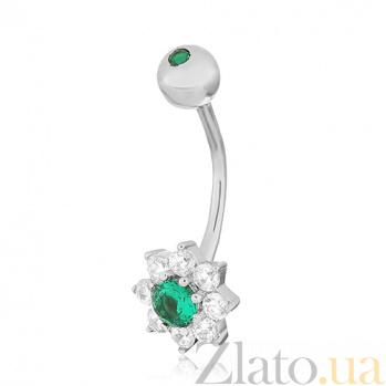 Серебряная серьга для пирсинга с фианитами Орхидея 000031033
