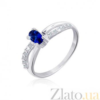 Серебряное кольцо Лалит с цирконием сапфирового и белого цвета 000033871