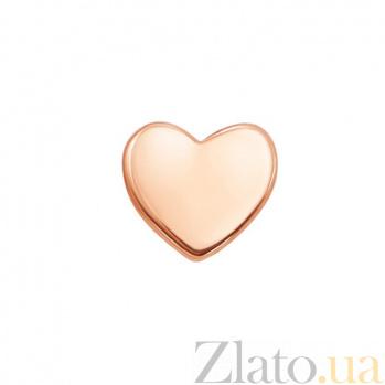 Золотая серьга-пуссета Сердце 000101579