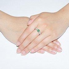 Серебряное кольцо Флори с зеленым агатом и фианитами