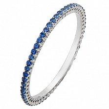 Золотое кольцо в белом цвете с сапфирами Квiтень