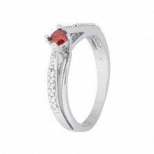 Серебряное кольцо с красным цирконием Балет