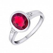 Серебряное кольцо Риксанта с красным завальцованным кристаллом Swarovski и белыми фианитами