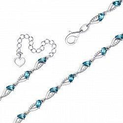 Серебряный браслет с лондон топазами и фианитами 000136492