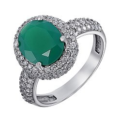Серебряное кольцо с зеленым агатом и фианитами 000011208