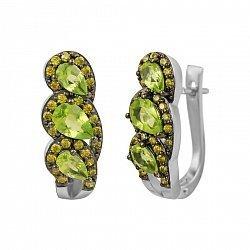 Серебряные серьги Инара с оливковым хризолитом и фианитами 000081882