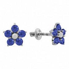 Серебряные пуссеты Нарцисс с синим цирконием