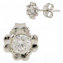 Серебряные серьги-пуссеты Фая с кристаллами swarovski