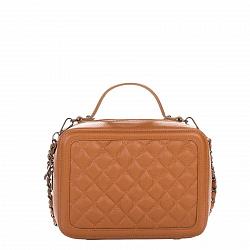 Кожаная деловая сумка Genuine Leather 8891 коньячного цвета с перекресной строчкой и съемным ремнем