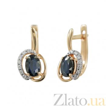 Золотые серьги с сапфирами и бриллиантами Рапсодия 000026636