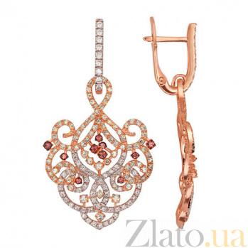Серьги-подвески из красного золота с цирконием Айла VLT--ТТ2353-2