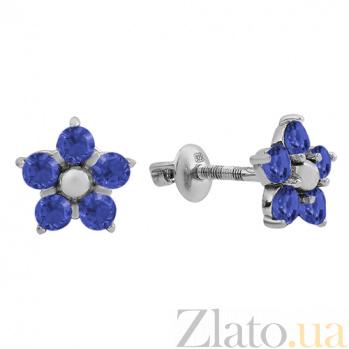 Серебряные серьги пуссеты с цирконием синего цвета Нарцис 000024191