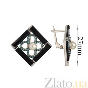 Серебряные серьги Ночное рандеву Карамия TNG--449643С