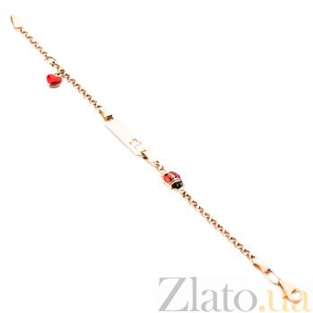 Золотой браслет с цветной эмалью Любовь к природе ONX--б01945