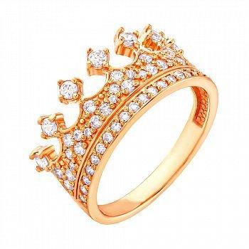 Каблучка-корона із червоного золота з фіанітами 000036411