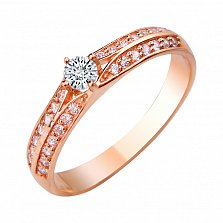 Золотое кольцо Грация с фианитами