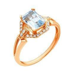 Кольцо из красного золота с голубым топазом и бриллиантами 000139504