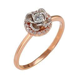 Кольцо из красного золота с фианитами Роза ветров 000022495
