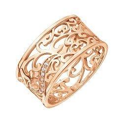 Узорное обручальное кольцо из красного золота с фианитами 000000245