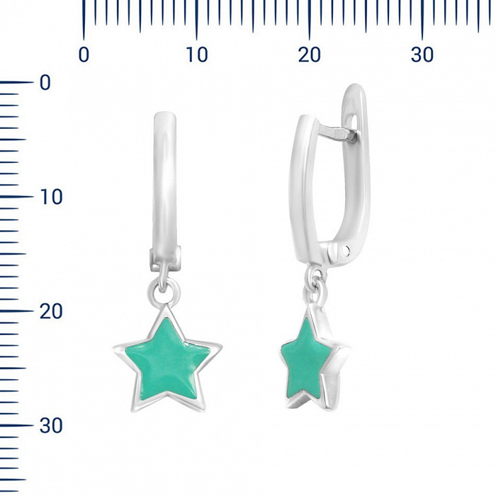 Серебряные серьги-подвески Звонкая звезда с голубой эмалью 000081850