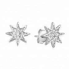 Серебряные серьги-пуссеты Восьмиконечная звезда в усыпке белых фианитов
