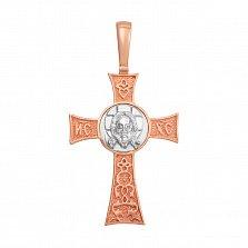 Золотой крестик Лик Божий в комбинированном цвете с надписью Спаси и Сохрани на тыльной стороне